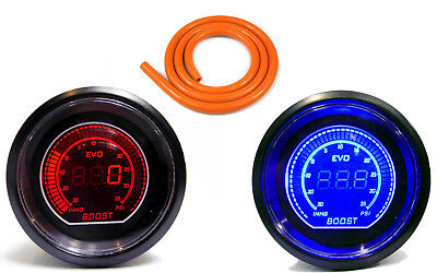 52mm Turbo Boost gauge 35 psi Red Blue LED & 1m of Orange Silicone Hose