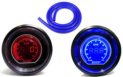 52mm Turbo Boost gauge 35 psi Red Led & Blue Hose