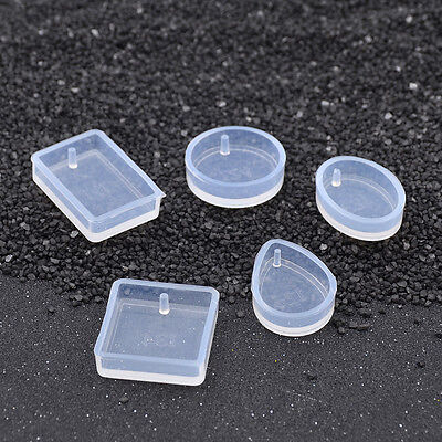 Geometric Figure Transparent Silicone Template with Hole for DIY Pendant Mould