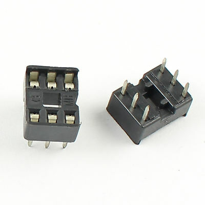 100Pcs 2.54mm Pitch 6 Pin DIP Solder Type IC Socket Adaptor Narrow