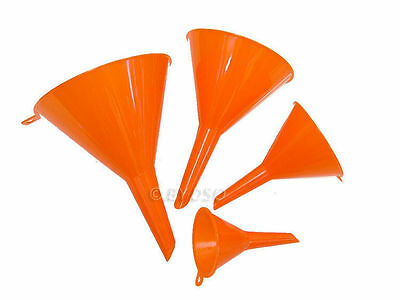 2 X 4Pc New Plastic Funnel Conical Pouring Funnels Small Grip 50 75 100 115Mm