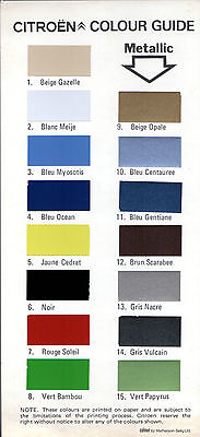 Citroen Exterior Colours 1977 UK Market Leaflet Brochure 2CV Dyane Ami GS CX