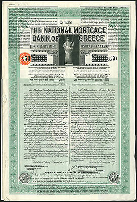 National Mortgage Bank of Greece, 7% Loan, 1927, £100 bond £50 paid, not canc'd