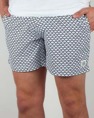 Supremacy Reef Tailored Swim Shorts in White & Blue - swimmers beach shorts