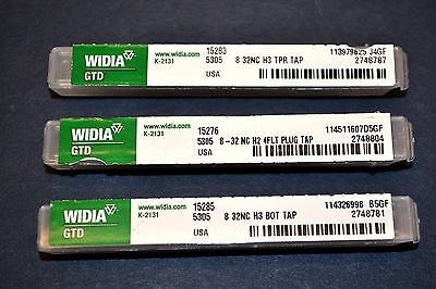 SET NEW WIDIA GTD 8 - 32 NC Hand Taps Bottom Taper Plug 15285,83,15276 #MBB2C7