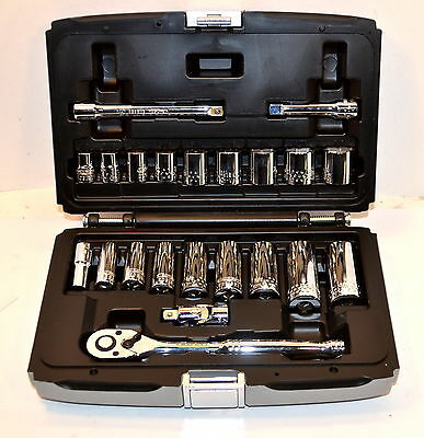 NEW Mac Tools Expert E034831 3/8 Dr 22 pc 6 pt Inch Std & Deep Socket Set WR17B4