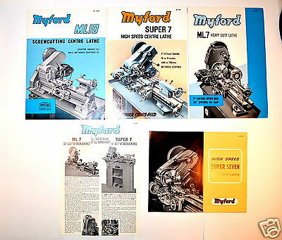 5  MYFORD ML7 SUPER 7 ML10 LATHE Brochures  LOT #RR152 features accessories etc