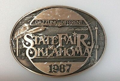 State Fair Of Oklahoma Dazzling Different Belt Buckle  1987