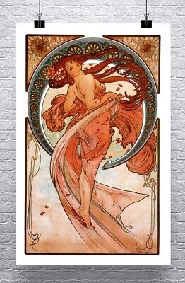 Essence 1899 Alphonse Mucha Art Nouveau Poster Rolled Canvas Giclee 17x42 in.