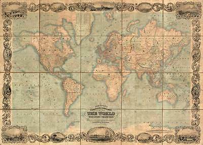 ILLUSTRATED WORLD MAP Vintage World Map Rolled Giclee CANVAS ART PRINT 32x24 in.