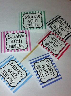 24 x Personalised Cup Cake Toppers Picks Flag Birthday Party