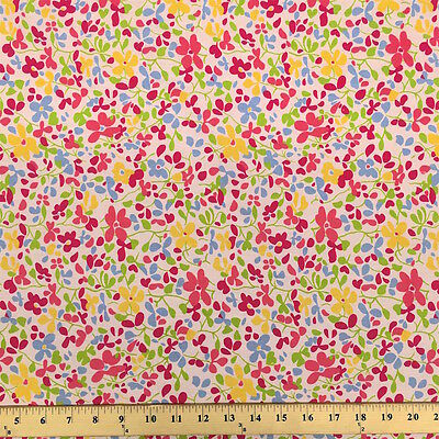 Fresca Pink Print Fabric Cotton Polyester Broadcloth By The Yard 60""