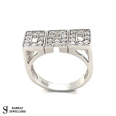 925 Sterling Silver Clear Cubic Zirconia Gents Solid DAD Ring Hallmarked 7.20gr