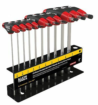 "Klein Tools JTH610EB 10PC 6"" SAE Ball-End Journeyman T-Handle Set with Stand"