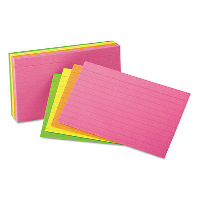 UNIVERSAL Ruled Neon Glow Index Cards 4 x 6 Assorted 100/Pack 47237