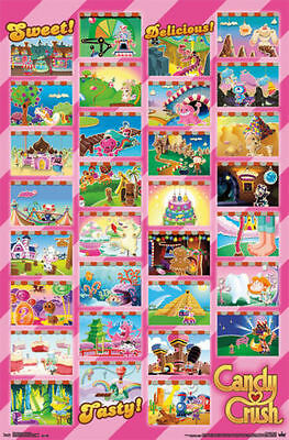TWO (2) 2014 CANDY CRUSH SAGA WORLDS GRID POSTERS 22x34 NEW VIDEO GAME FREE  SHIP