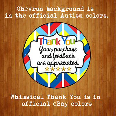 "60 2"" Large Round eBay Thank You Shipping Label Sticker Autism Themed"