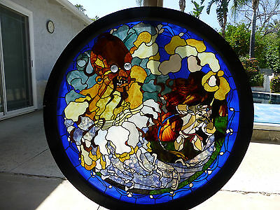 Rare Stained Glass Masterpiece Arabian Nights Aladdin and the Lamp 4 ft diameter