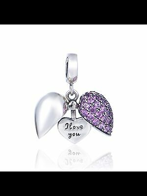 Genuine 925 Solid Sterling Silver I Love You Purple Heart Charm