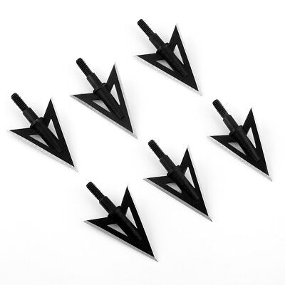 6pcs Sharp Broadheads 2 Blade Metal Archery hunting Arrow Tips 100 Grain Black