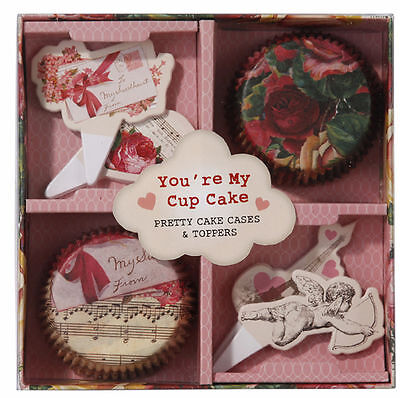 60 x Valentines Cupcake Cases & Toppers - 40 cases & 20 picks Beautiful Set
