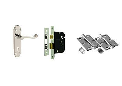 Blenheim Internal Door Handle Packs - Latch Lock Bathroom Chrome Door Handles