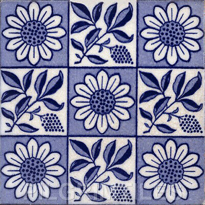 Arts & Crafts Style Ceramic Tile Fireplace Kitchen Bathroom Sunflowers 9sq blue