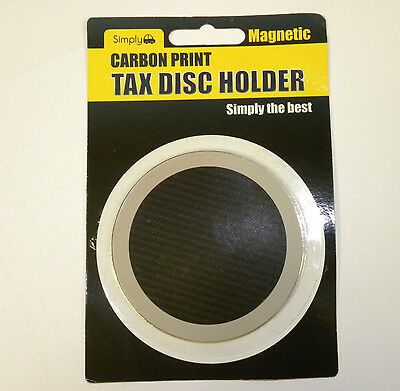 Black Carbon effect Magnetic Car Tax Disc  Holder fits all cars  universal jpc