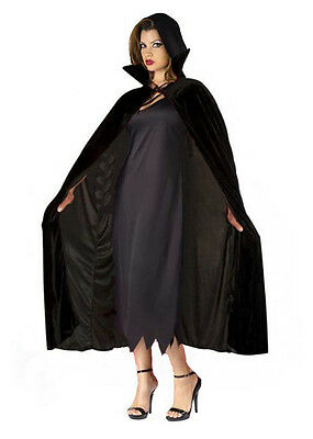 Deluxe Long Velvet Cloak Vampire Dracula Halloween Fancy Dress Costume Cape NEW