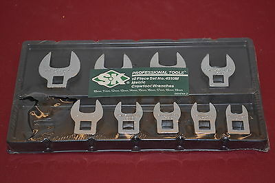 """9pc  NOS SK 3/8"""" Dr Metric CROWSFOOT WRENCH 10 - 19mm Set WL143.12"""