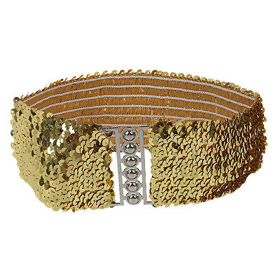 Lady Womens Fashion Sequins Casual Elastic Stretch Shinning Waist Band Belt SP