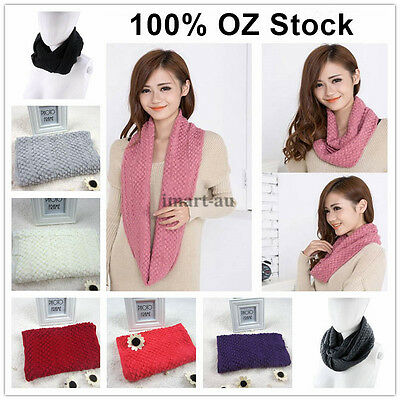 Women Warm long Wool Knit Neck Warmer Circle Wrap Cowl Loop Snood Scarf Shawl