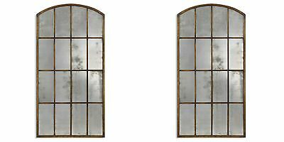"""Pair Vintage Architectural 82"""" Metal  Aged Wall Floor Mirror Window Style"""