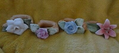 PIA Bone China  4 Napkin Rings RPA 1985 Different Styles