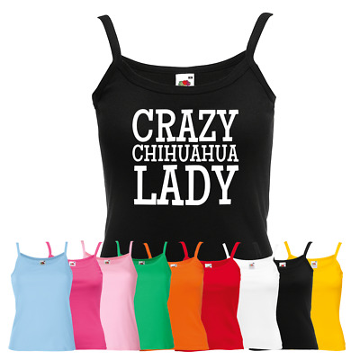 Ladies Crazy Chihuahua Lady Vest - Cute Animal Lover Puppy Pup Dog New Strap Top