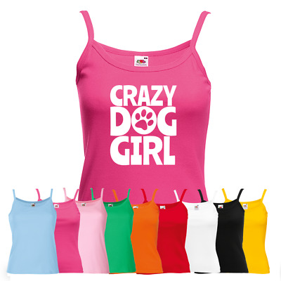 Ladies Crazy Dog Girl Vest - Cute Animal Lover Puppy Pup Doggie New Strap Top
