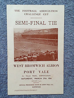 1954 - FA CUP SEMI FINAL PROGRAMME - WEST BROM v PORT VALE