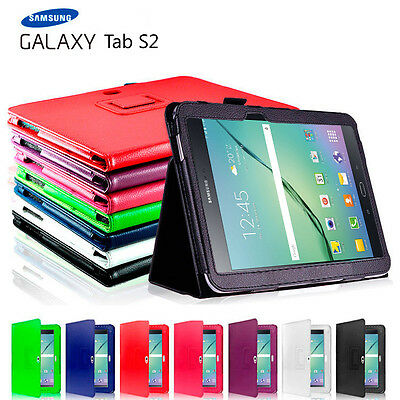 "Premium Flip Leather Case Cover For Samsung Galaxy Tab S2 9.7"" 8.0"" T815 T715"