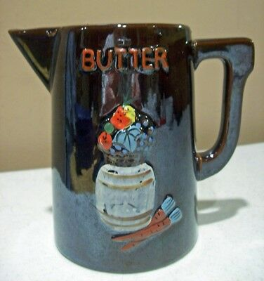 Vintage Brown Glazed Clay Butter Pitcher - Cute!