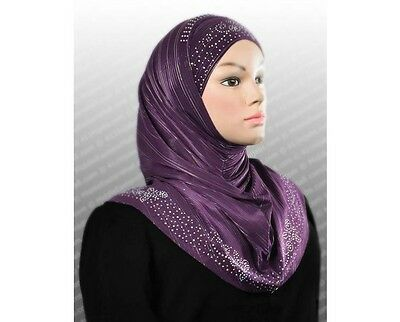 US SELLe 2 piece Al Amira Hijab with Beading & Rhinestones,set Hood & Hijab Tube