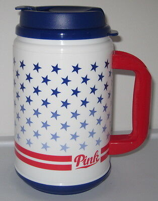 New Victoria's Secret Pink Red Blue Star Flag Patriotic Americana Chug Mug Cup