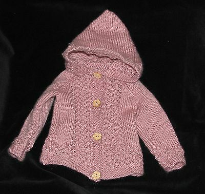 HAND KNITTED DUSKY PINK LACE PATTERN HOODED BABY JACKET 0-3 months