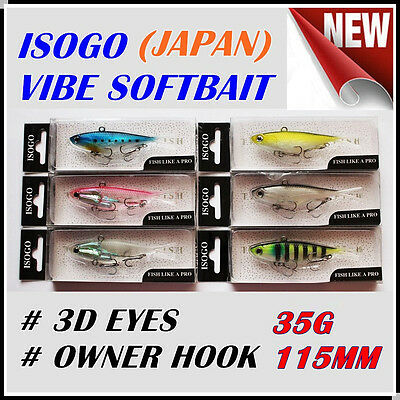 6x Japan 115mm 35g Soft Plastic Fishing Lures Vibe Vibes Jew King Barra Flathead