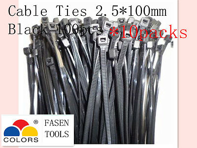 1000Pcs Black Nylon Cable Zip Ties (2.5mm x 100mm) UV Stabilised