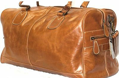 Large Tan Cowhide Duffle, Holdall, Travel,sports Gym Weekend Leather Bag