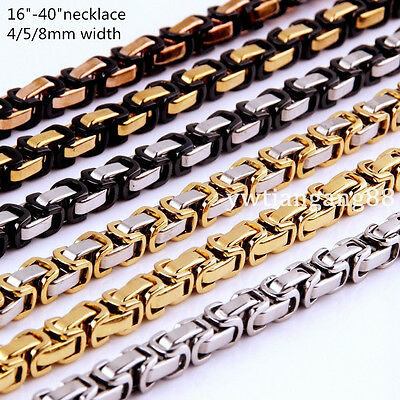 "16~40"" 4/5/8mm Fashion Stainless Steel Men Womens Byzantine Box Chain Necklace"