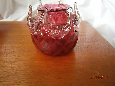 Unusual Antique Victorian Blown Cranberry Ruby Glass,Posy Vase Crystal Frill