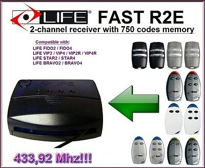 Life FAST R2E 2-channel receiver 433,92Mhz for Life remote controls