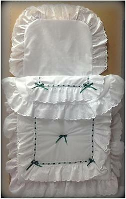 Baby's Pram Quilt set in white and green double frill  to fit silver cross prams