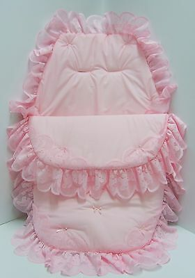 Cosy Toes/Footmuff 3in1 in  pink teddy lace